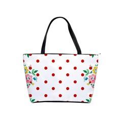 Flower Floral Polka Dot Orange Shoulder Handbags