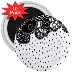 Batik Rain Black Flower Spot 3  Magnets (10 Pack)
