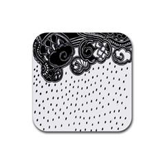 Batik Rain Black Flower Spot Rubber Coaster (square)
