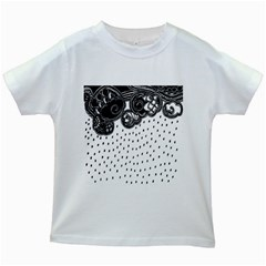Batik Rain Black Flower Spot Kids White T Shirts