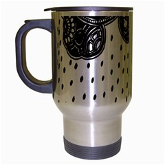 Batik Rain Black Flower Spot Travel Mug (silver Gray)