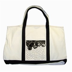 Batik Rain Black Flower Spot Two Tone Tote Bag
