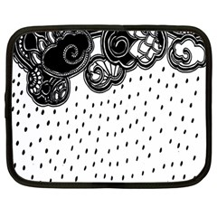 Batik Rain Black Flower Spot Netbook Case (large)