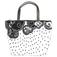Batik Rain Black Flower Spot Bucket Bags