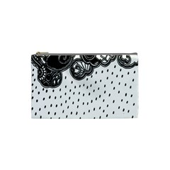 Batik Rain Black Flower Spot Cosmetic Bag (small)