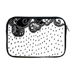 Batik Rain Black Flower Spot Apple Macbook Pro 17  Zipper Case