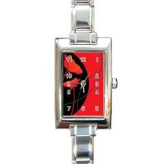 Flower Floral Red Black Sakura Line Rectangle Italian Charm Watch