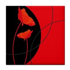 Flower Floral Red Black Sakura Line Tile Coasters