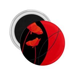 Flower Floral Red Black Sakura Line 2 25  Magnets