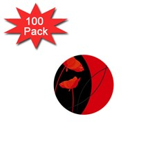 Flower Floral Red Black Sakura Line 1  Mini Buttons (100 Pack)