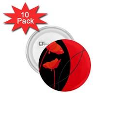 Flower Floral Red Black Sakura Line 1 75  Buttons (10 Pack)