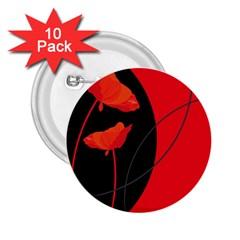 Flower Floral Red Black Sakura Line 2 25  Buttons (10 Pack)