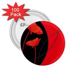 Flower Floral Red Black Sakura Line 2 25  Buttons (100 Pack)