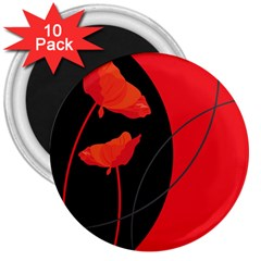 Flower Floral Red Black Sakura Line 3  Magnets (10 Pack)