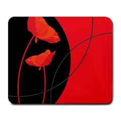Flower Floral Red Black Sakura Line Large Mousepads