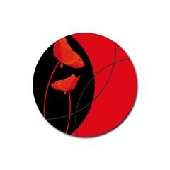 Flower Floral Red Black Sakura Line Rubber Coaster (round)