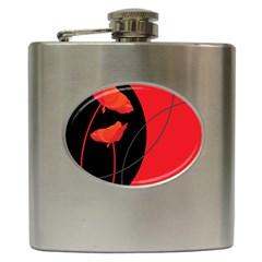 Flower Floral Red Black Sakura Line Hip Flask (6 Oz)