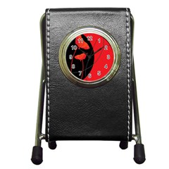 Flower Floral Red Black Sakura Line Pen Holder Desk Clocks