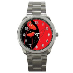 Flower Floral Red Black Sakura Line Sport Metal Watch