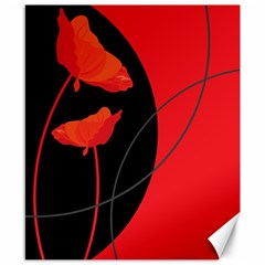Flower Floral Red Black Sakura Line Canvas 8  X 10