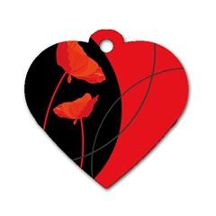 Flower Floral Red Black Sakura Line Dog Tag Heart (one Side)
