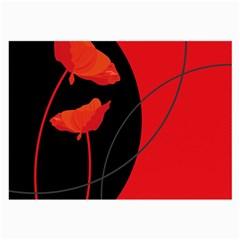 Flower Floral Red Black Sakura Line Large Glasses Cloth