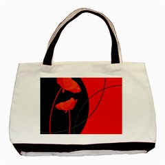 Flower Floral Red Black Sakura Line Basic Tote Bag (two Sides)