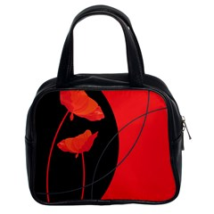 Flower Floral Red Black Sakura Line Classic Handbags (2 Sides)