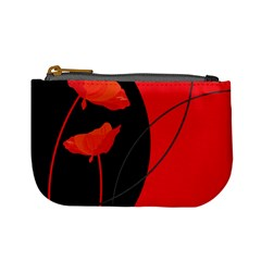 Flower Floral Red Black Sakura Line Mini Coin Purses