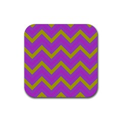 Zig zags pattern Rubber Square Coaster (4 pack)