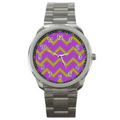 Zig zags pattern Sport Metal Watch