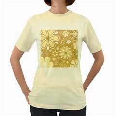 Flower Floral Star Sunflower Grey Women s Yellow T Shirt