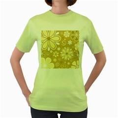 Flower Floral Star Sunflower Grey Women s Green T Shirt