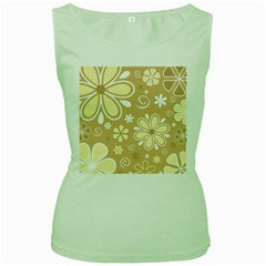 Flower Floral Star Sunflower Grey Women s Green Tank Top