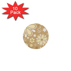 Flower Floral Star Sunflower Grey 1  Mini Buttons (10 Pack)