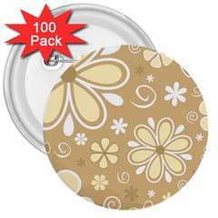 Flower Floral Star Sunflower Grey 3  Buttons (100 Pack)