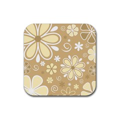 Flower Floral Star Sunflower Grey Rubber Coaster (square)