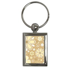 Flower Floral Star Sunflower Grey Key Chains (rectangle)