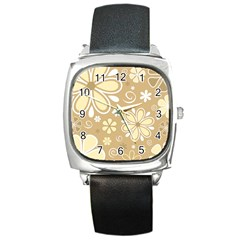 Flower Floral Star Sunflower Grey Square Metal Watch