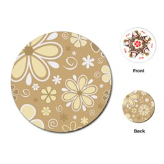 Flower Floral Star Sunflower Grey Playing Cards (round)