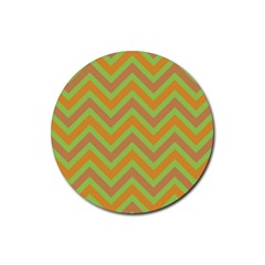 Zig zags pattern Rubber Round Coaster (4 pack)