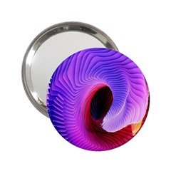Digital Art Spirals Wave Waves Chevron Red Purple Blue Pink 2 25  Handbag Mirrors