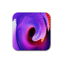 Digital Art Spirals Wave Waves Chevron Red Purple Blue Pink Rubber Square Coaster (4 Pack)