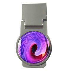 Digital Art Spirals Wave Waves Chevron Red Purple Blue Pink Money Clips (round)