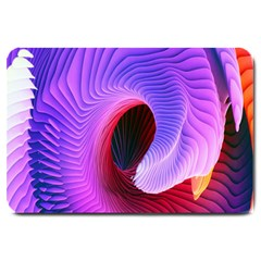 Digital Art Spirals Wave Waves Chevron Red Purple Blue Pink Large Doormat