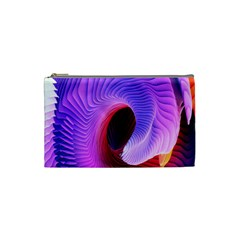 Digital Art Spirals Wave Waves Chevron Red Purple Blue Pink Cosmetic Bag (small)