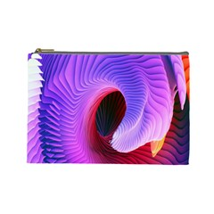 Digital Art Spirals Wave Waves Chevron Red Purple Blue Pink Cosmetic Bag (large)