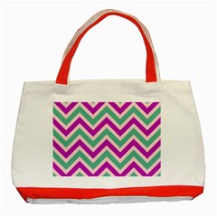 Zig zags pattern Classic Tote Bag (Red)