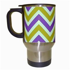Zig zags pattern Travel Mugs (White)