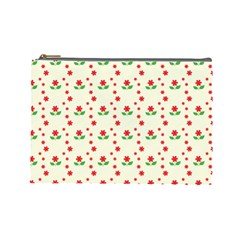 Flower Floral Sunflower Rose Star Red Green Cosmetic Bag (large)